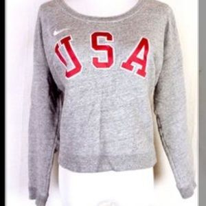 Nike USA Official Olympic Team Gray Sweater Sz M